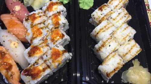 California 8, salmon classic 8, nigiri 4