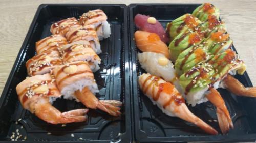 Dragon roll 8, salmon grill 8, nigiri 4