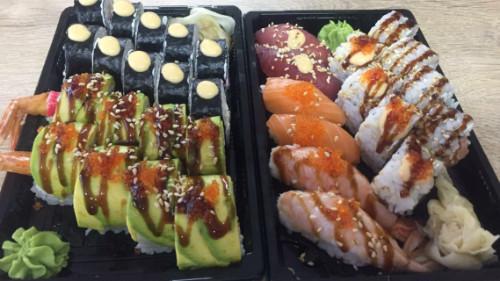 Tamago roll 10, dragon roll 8, california roll 4, salmon classic 4, nigiri 6
